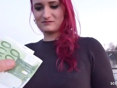GERMAN SCOUT - Redhead College Young Melina talk to Have Intercourse