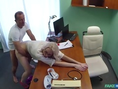 Small titted blonde with glasses loves medical fucking