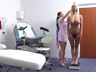 Big titted hairy mommy and her female gynecologist