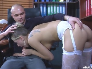 Assfucking Saga Hard Pound At The Office - high definition