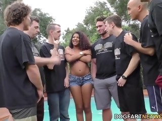 Ebony Zoey Reyes Gives Sucking Cock To Many White Guys