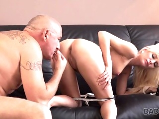 DADDY4K. Mommy businessman cums in blond's mouth to..