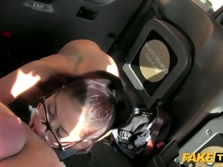 Brunette in glasses agrees to fuck in Fake Taxi