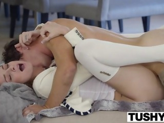 Babysitter Aspen Ora ass rvaged hard in white stockings