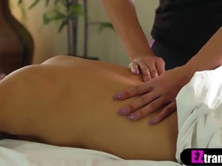 Busty asian MILF masseur pleases her clients big cock